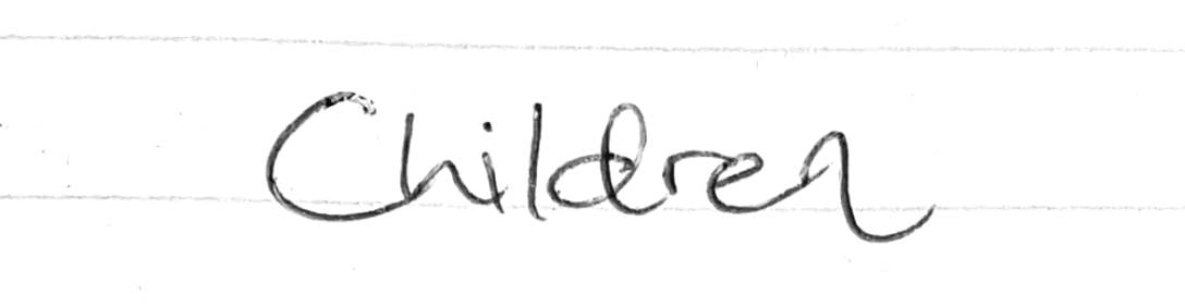 Children poem title in the handwriting of Sean Gibson